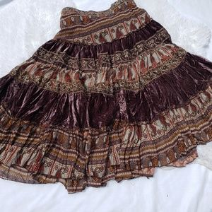 Bohemian Gypsy Skirt Medium Medium Velvet Beads